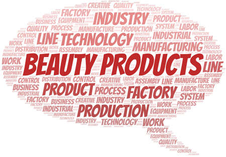Beauty Products word cloud create with text only.