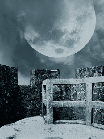 illustration of view of a huge moon on a castle with rock walls background