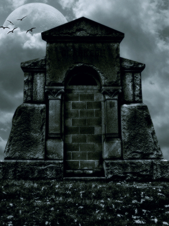 illustration of a scary dark stone monument in the background with moon and clouds