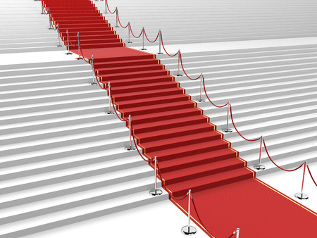 illustration of red carpet with straight stairs leading in the middle Banco de Imagens