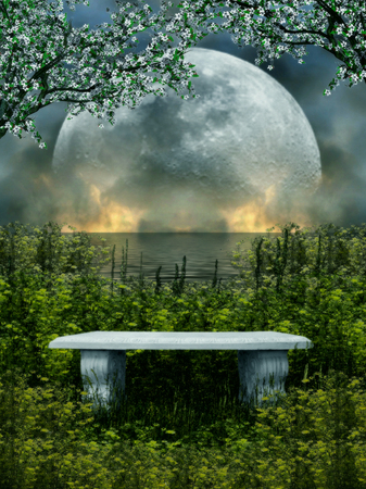 illustration of a stone seat isolated with nature and moon in the background Reklamní fotografie - 119284022