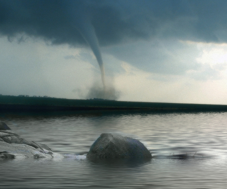 tornado approaching from far in front of a river