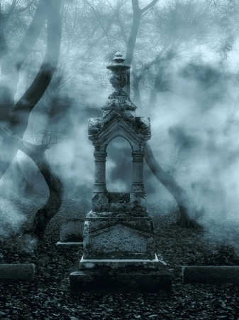 illustration of dark scary graveyard with an old scary stone statue with fog in the background Фото со стока