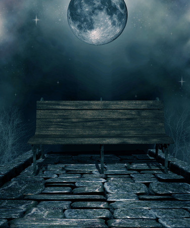 illustration of a seat isolated with stone flooring and dark and scary moon with fog in the background