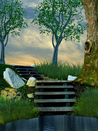 illustration of stone stairs in nature with trees and grass leading somewhere