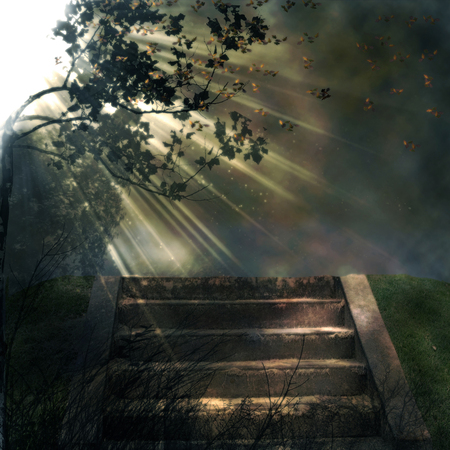 stairs in nature illustration with sun rays coming from one side background