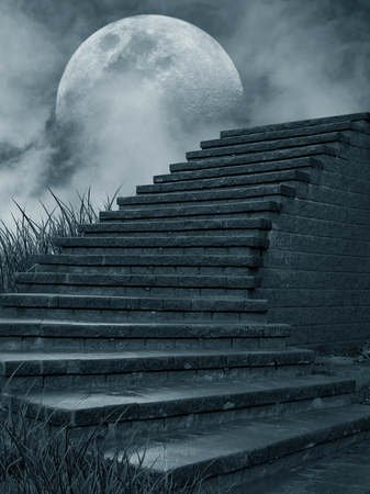 illustration of stone stairs with moon and clouds in the background Banque d'images