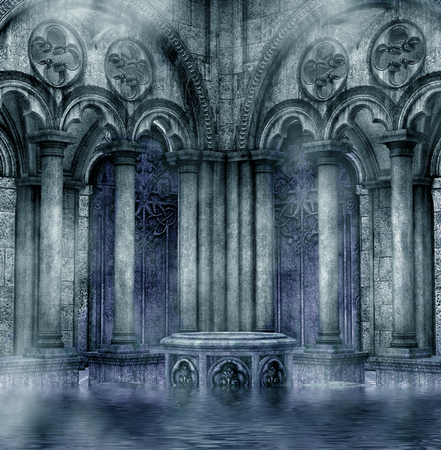 illustration of scary dark background with stone structures of arches and water