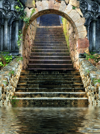 stone stairs entrance with water at the end
