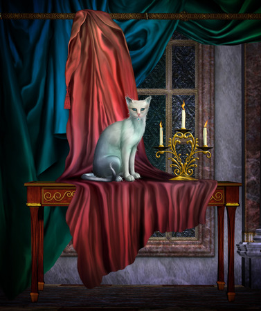 3d illustration of interior of house with a white cat and drapes