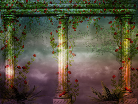 3d illustration graphic background of columns with creepers and plants around it