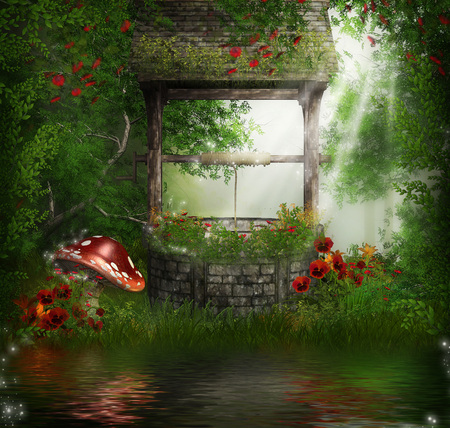 3d illustration fantasy graphic background of a stone well, flowers and mushrooms