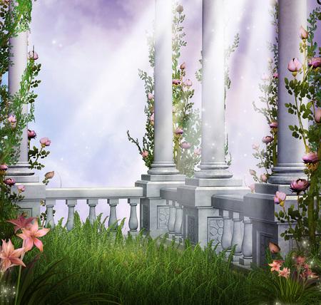 3d illustration fantasy graphic background of white building columns and plants Reklamní fotografie