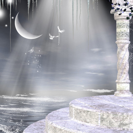3d illustration fantasy graphic background of heaven with marble structure ,a half moon and doves