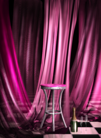 3d illustration of club interior with pink chair,drapes and a pink seat
