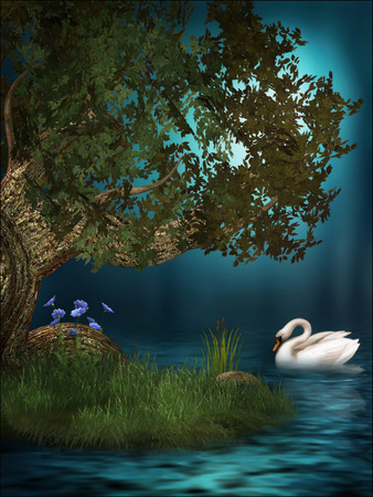 3d illustration fantasy graphic background of a tree at night near a lake with a white swan Stok Fotoğraf