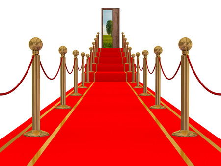 illustration of isolated red carpet with straight stairs leading in the middle
