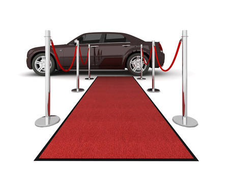illustration of isolated red carpet with luxury car in the middle