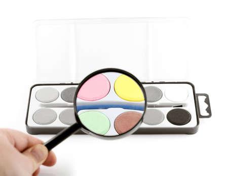 hogging: magic enlarging lens turns black and white in colour Stock Photo