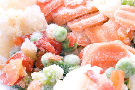 frozen vegetables coated ice crust with little pieces of ice