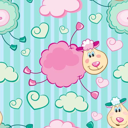 Cheerful flying sheep seamless vector pattern Vector