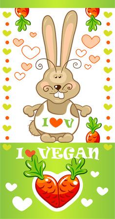 Funny rabbit vegan, vector illustration Vector