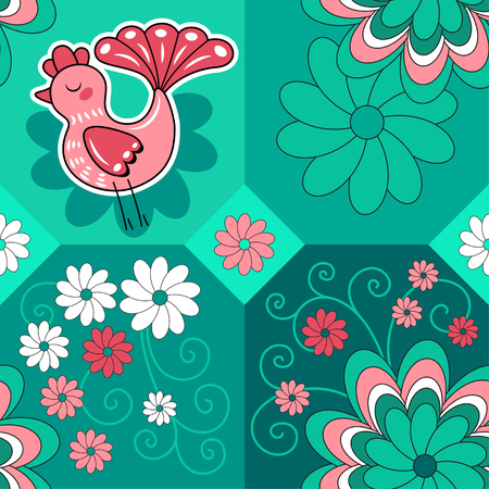 bluegreen: Seamless blue-green pattern with bird and flowers, vector background