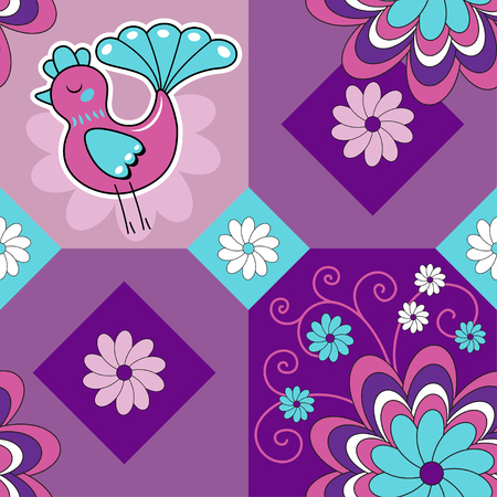 Seamless monochrome pattern with bird and flowers, vector background Vector