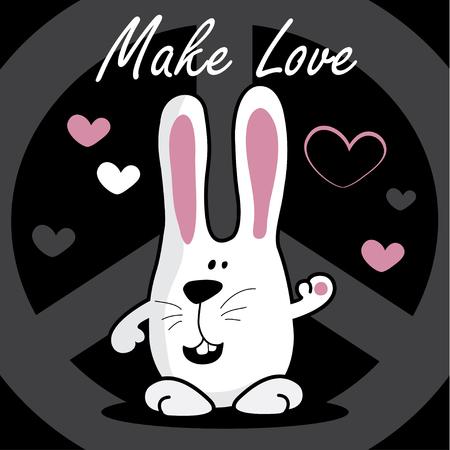 hacer el amor: Alegre blanco bunny-hippie, hacer el amor, ilustraci�n vectorial