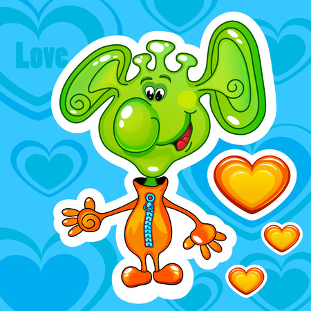 Cheerful green alien with orange hearts, vector illustration Vector
