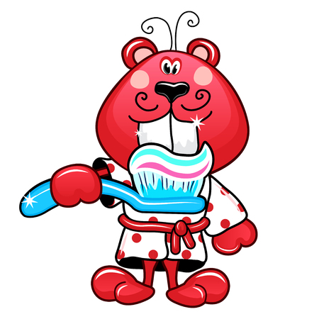 red bathrobe: Cheerful Red Beaver in the white bathrobe, brushing teeth, vector illustration