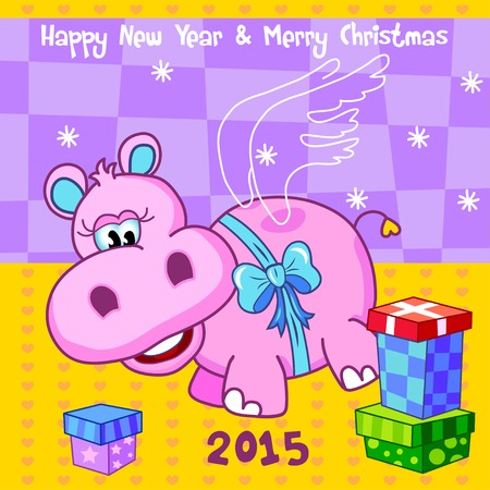 behemoth: Cute cheerful flying pink hippopotamus (hippo, behemoth) with a blue bow and gift boxes for New Year, Xmas. Vector illustration for greeting cards of New Year, Christmas. Illustration