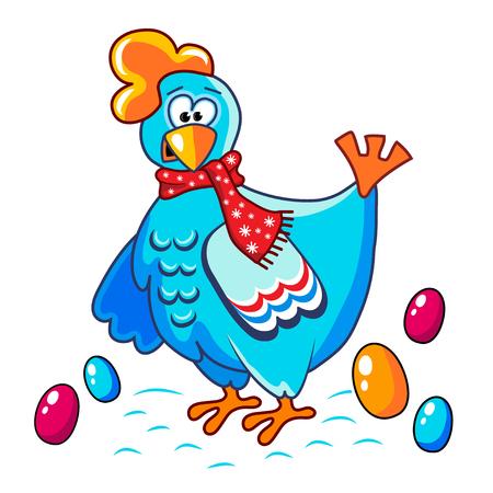 huevo caricatura: El alegre pollo azul divertido con los huevos coloridos, ilustraci�n vectorial. A�o Nuevo, Navidad, Navidad, Pascua. Fondo negro con los copos de nieve Vectores