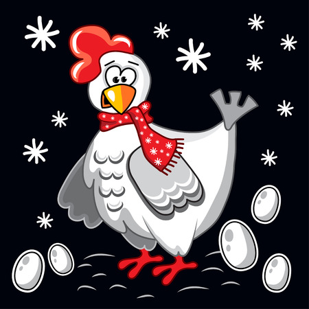 chicken and egg: The funny cheerful white chicken with eggs, vector illustration. New Year, Christmas, Xmas. Black background with snowflakes Illustration