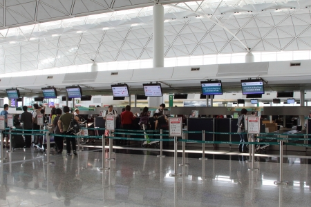 check in: Hong Kong International Airport  HKIA  Cathay Pacific check in desks Editorial