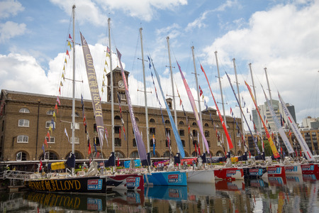 clipper: Clipper race yacht moored in St Katharine Docks, London UK