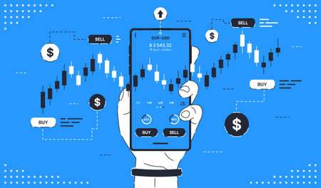 Mobile stock market trading. Man's hand holds a smartphone with trade charts. Concept for mobile online trading, stock trading, stock market analysis, business and investment, stock exchange.