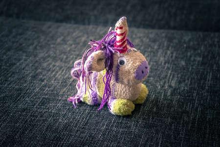 A Little Selfmade Unicorn Plush Animal out of Wool.