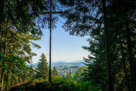 Hike on the Rattenberger Heightsway in lower Bavaria Bavaria. Stock fotó