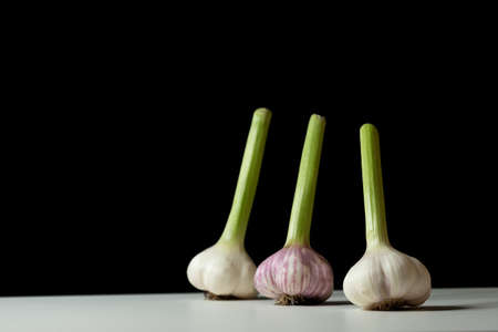 Fresh harvested Garlic in different positions