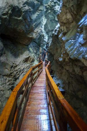 Vorderkaserklamm Lofer Austria. A deep gorge with waterfalls. Фото со стока