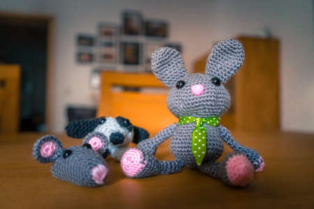 Bunny, Mouse, Dog, self-made out of wool.