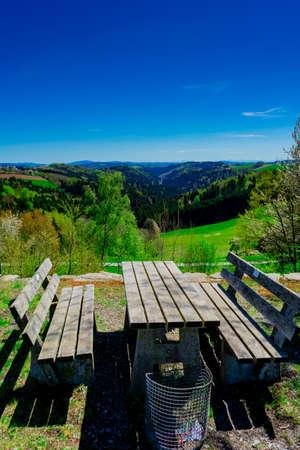 Hiking through Ilztal from Diessenstein to the Schneidermill in the Bavarian Forests Germany 写真素材