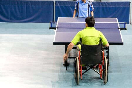 paraplegic: Wheel Chair Table Tennis for Disabled Persons Stock Photo