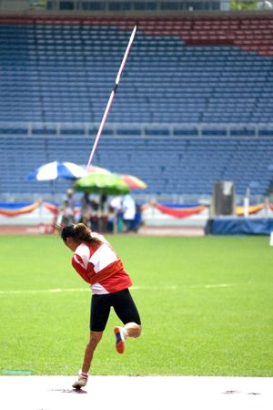 disabled sports: Womens Javelin Throw for Disabled Persons Stock Photo