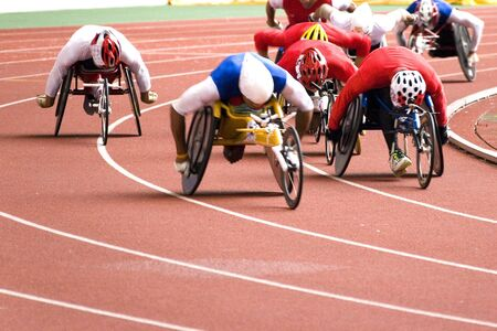 disabled sports: Wheel Chair Race Stock Photo