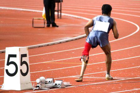 paraplegic: Heren 200 meter race voor gehandicapten Stockfoto
