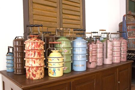 old container: Vintage Chinese Food Containers Stock Photo