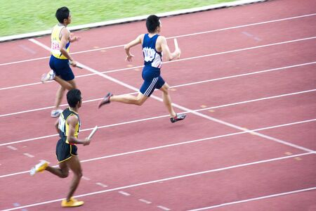 meters: Mens 4x400 Meters Relay Stock Photo