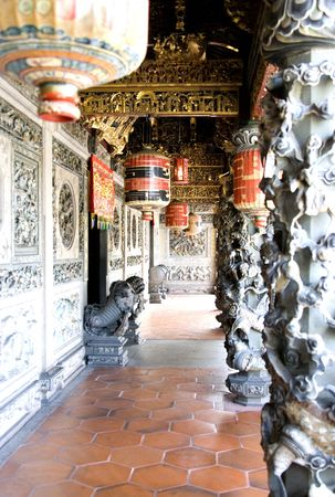clan: Decorative Chinese Clan House Entrance Stock Photo